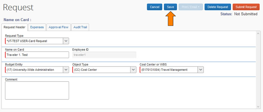 Concur screen capture of new card request form to onboard prospective cardholder information.