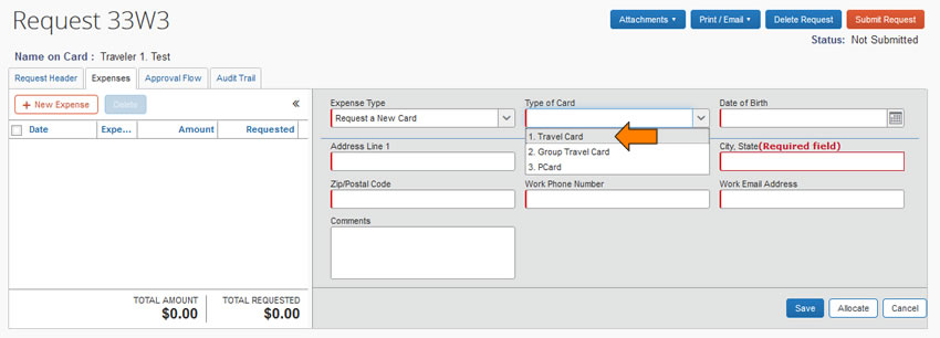 Screen capture of Concur new card request screen to select card type and onboard contact information.