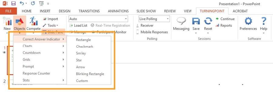 PowerPoint and TurningPoint Correct Answer Indicator image