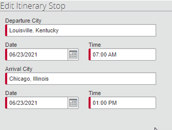 Screen Capture of editing an itinerary Stop for the return portion.