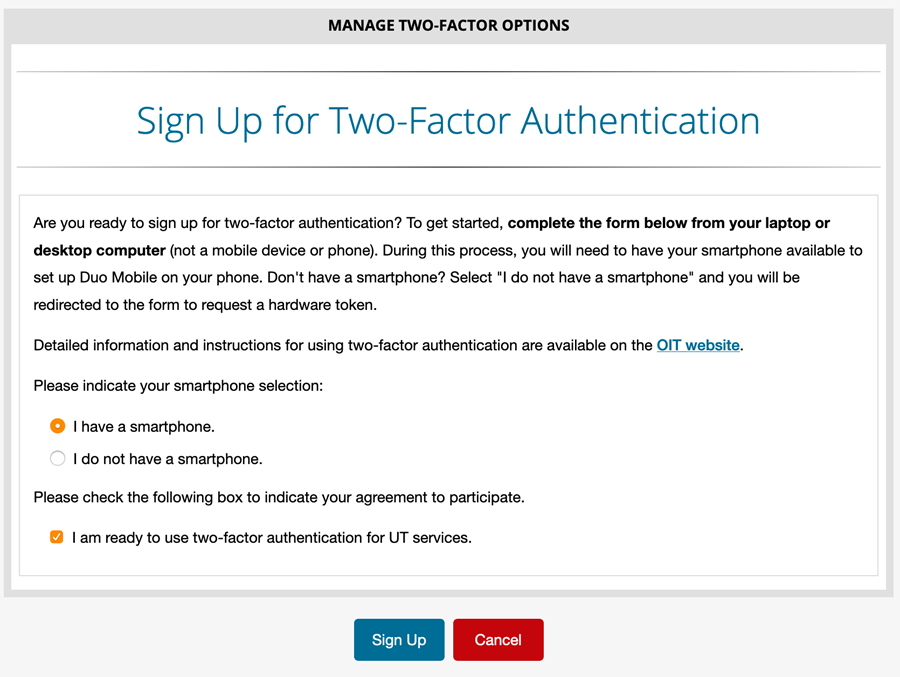 Sign Up for Two-Factor