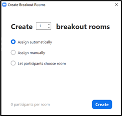 An example of the distribution options for Zoom Breakout Rooms.