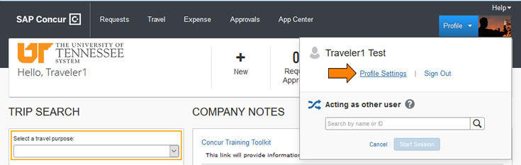image of Concur landing page with arrow indicating profile dropdown in upper right corner of screen