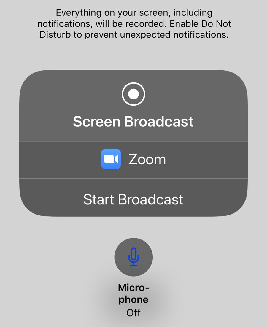 Choose Start Broadcast