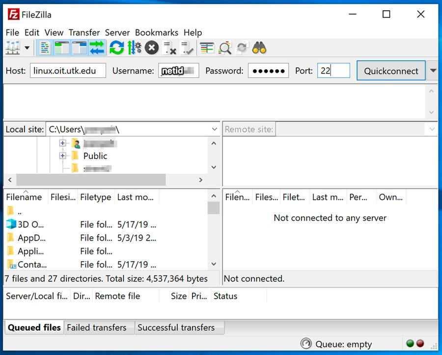 FileZilla configuration screen shot