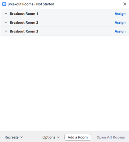 An example of three Zoom Breakout Rooms that have not been started.