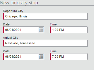Screen Capture of editing an itinerary Stop by adding a new destination.